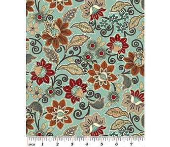 Floral Pale Turquoise - Click to Enlarge